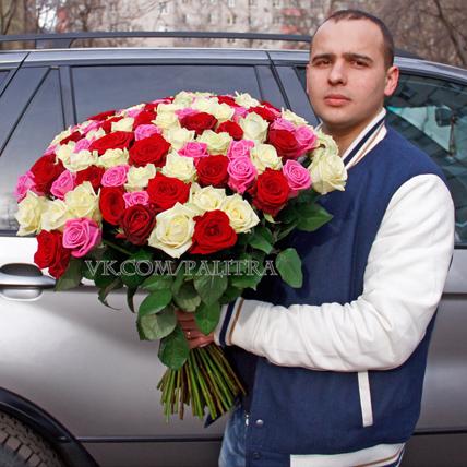 101 роза:  красная, белая, розовая