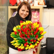 101 тюльпан: красные + желтые