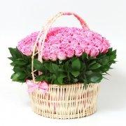 Корзина из 101 розы розовой