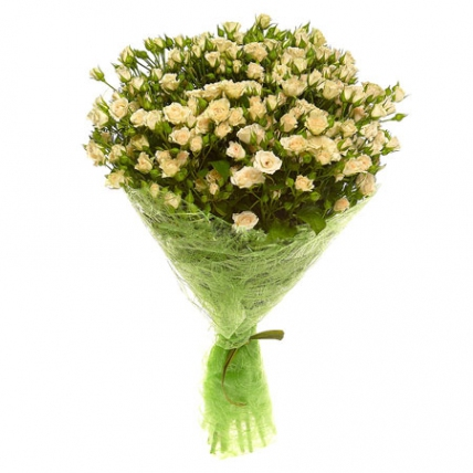 21 кустовая роза белая
